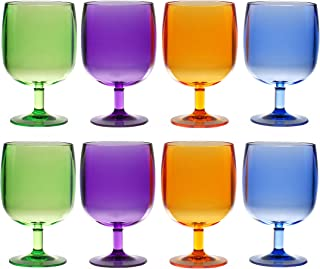QG Set of 8 Colorful Stackable 12 oz Acrylic Plastic Tumbler Set in 4 Assorted Colors
