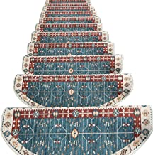 Stair mat Indoor and Outdoor Carpet Stair Treads Sector Grid Carpet Stair treads Free Tape Non-Slip Steps Decorative Stair...