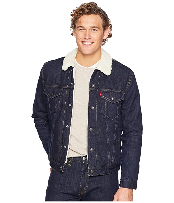 Men's Vintage Style Coats and Jackets Levisr Mens Type III Sherpa Trucker Jacket Juniper Rinse Mens Coat $79.99 AT vintagedancer.com