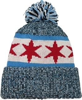 Chicago Flag Knit Warm Fleece Insulation New Leader Era Beanie Toque Pom Hat Cap Blue