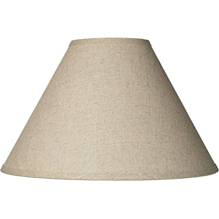 """Fine Burlap Large Empire Lamp Shade 6"""" Top x 17"""" Bottom x 11.5"""" Slant (Spider) Replacement with Harp and Finial - Brentwood"""