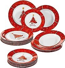 VEWEET, Serie CHRISTMASDEER, vajillas de Porcelana, vajilla Completa para 6 Persona (CHRISTMASTREE-18)