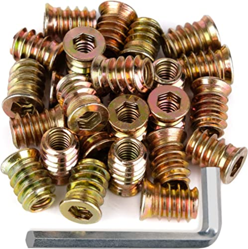 """40Pcs Anwenk 1/4""""-20 x 15mm Furniture Screw in Nut Threaded Wood Inserts Bolt Fastener Connector Hex Socket Drive for..."""