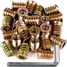 """40Pcs Anwenk 1/4""""-20 x 15mm Furniture Screw in Nut Threaded Wood Inserts Bolt Fastener Connector Hex Socket Drive for Wood..."""