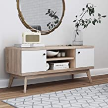 Scandinavian Mid-Century TV Stand Media Console up to 50'' – Multifunctional Wooden Storage Unit – Modern & Minimalist Style Livingroom & Bedroom Furniture – White Cabinet Doors & Pale Wood