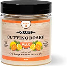 Cutting Board Finish Wax (6oz) by CLARK'S | Enriched with Lemon & Orange Oils | Made with Natural Beeswax and Carnauba Wax | Butcher Block Wax