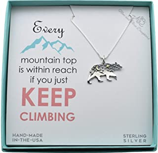 Woman's Mountain and Sky Bear Scene Charm Pendant in Sterling Silver on an 18