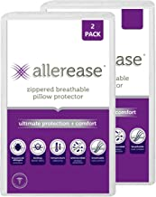 AllerEase Ultimate Protection & Comfort Temperature Balancing Pillow Protector – Zippered, Antimicrobial, Allergist Recomm...