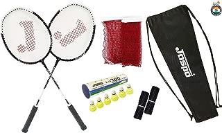 Jaspo Cosmo EZ-200 Plus (2 Badminton+Nylon Shuttle Cork+ Carry Bag+Grip+Net)(Multi Colour)