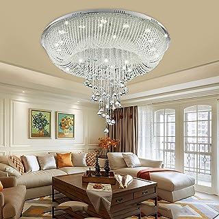 TFCFL Lamparas Techo Colgantes Cristal,60X40CM Lampara de Techo Led con Bombillas,3 Colores Iluminación de Techo de Interior para Hoteles,Salas de Estar,Dormitorios,Comedores