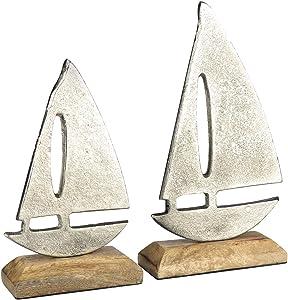com-four® 2-teiliges Segelschiff, maritimes Deko Schiff aus Metall mit Standfuß aus Holz (02 Stück - Segelschiff-Set)