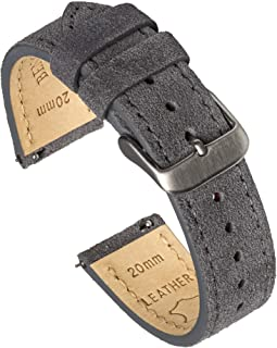 Benchmark Basics Quick Release Suede Watch Strap - Vintage Leather Watch Bands for Men & Women - Compatible with Regular &...