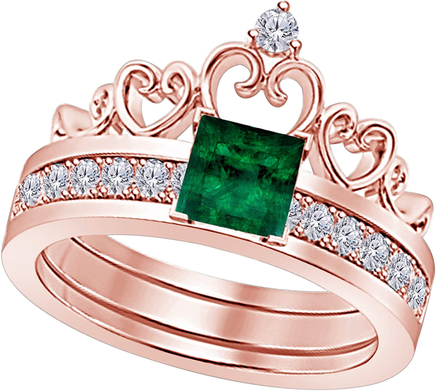 Star Retail 14k Rose Discount mail order Gold Over Em Created Princess 6MM Safety and trust Green Cut