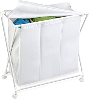 Honey-Can-Do HMP-01387 Rolling Laundry Sorter with Removable Bag, Three Bag