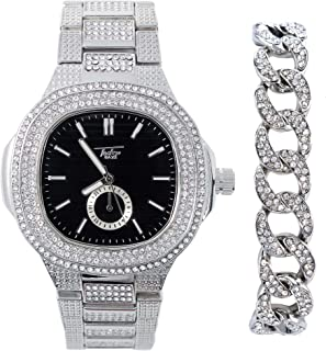 Mens Silver Bling-ed Out Rounded Square Watch with Black Dial and Simulated Lab Diamonds | Cuban Link Diamond Bracelet | 2 Piece Gift Set