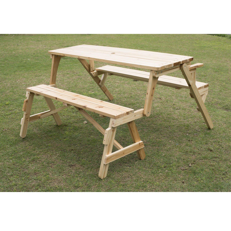 Outsunny 2 In 1 Convertible Picnic Table & Garden Bench: Amazon.sg: Lawn & Garden