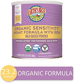 Earth's Best Organic Low Lactose Sensitivity Infant Formula with Iron, Omega-3 DHA..