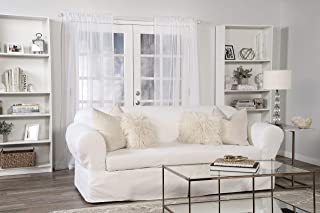 Classic Slipcovers WDEN2PC10WHT Sofa slipcover, 2 Piece, Separate Cushion Cover, Pure White