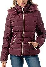 Fashionazzle Women's Short Puffer Coat with Removable Faux Fur Trim Hood Jacket