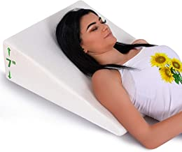 Abco Tech Bed Wedge Pillow with Memory Foam Top - Reduce Neck and Back Pain, Snoring, and Respiratory Problems - Ideal for Sleeping, Reading, Rest or Elevation - Breathable and Washable Cover - 7in