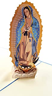 iGifts And Cards Our Lady Virgen de Guadalupe (Blue Cover) 3D Pop Up Greeting Card - Mother Mary, Holy, Miracle, Half-Fold, Religious, Just Because, Thinking of You, Ordination, Spiritual, Christmas