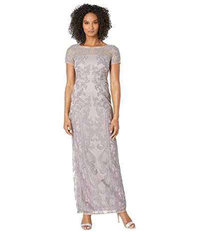 Adrianna Papell Filigree Embroidered Tulle Evening Gown (Wisteria) Women