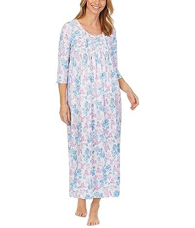 Carole Hochman Soft Jersey 3/4 Sleeve Long Gown (Blue/Pink/Floral) Women