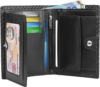 ACKY Portafoglio Uomo RFID Blocking Pelle Carbonio con 9 Porta Carte di Credito, 2 Finestra ID, 1 Portamonete Cerniera, 1 ...