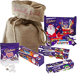 Cadbury Christmas Selection in Basically British Burlap Bag - Freddo, Buttons, Fudge, Chomp and More!
