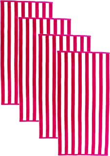 Friends & Home Pack of 4 Luxurious Hot Pink Stripe Cabana Beach Towels (100% Cotton, 30