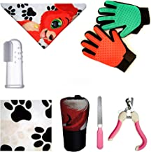 LIS Dog Grooming Kit Pet Care - Set of 5 Dog Accessories Cat Supplies - Dog Finger Toothbrush - Dog Bath Towel - Foot Towe...