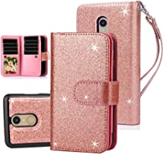 TabPow LG Aristo Case, 10 Card Slot - ID Slot, Button Wallet Folio PU Leather Case Cover with Detachable Magnetic Hard Case for LG Phoenix 3 / LG K8 2017 / LG Fortune/LG Risio 2 - Glitter Rose Gold