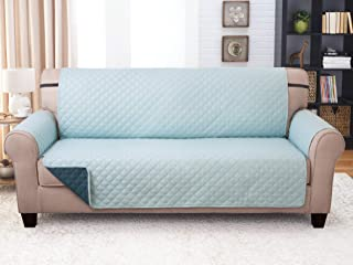 Couch Guard Sofa Cover, Slipcover, Furniture Protector. Shield & Protects from Dogs, Cats, Pets, Kids, Stains. Reversible, Quilted with Elastic Strap. Easy Wash & Dry. Jade & Teal
