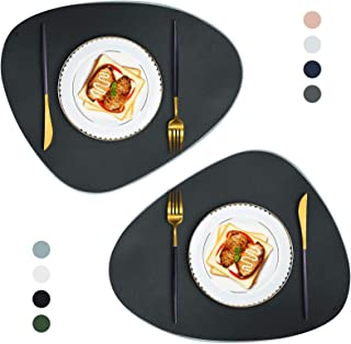 Placemats Round Leather for Dining Table Mats Heat-Resistant Non-Slip Washable Insulation Coffee Mats Kitchen Place Mats N...