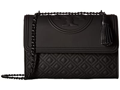 Tory Burch Fleming Matte Convertible Shoulder Bag (Black) Shoulder Handbags