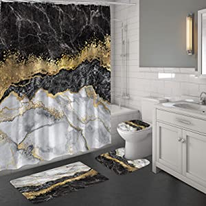 MitoVilla 4 Pcs Black Marble Shower Curtain Sets with Rugs, Black Grey Gold Bathroom Sets with Shower Curtain and Rugs and Accessories, Modern Bathroom Accessories Decor with Bath Mats, Gray
