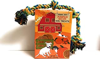 Trader Joe's Pumpkin Flavored Dog Treats and a Blue Rope Dog Toy Bundle (3 Items)