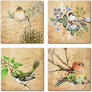 Vintage Bird Canvas Wall Art 4 Pieces Rustic Wall Decor Prints Paintings Ready to Hang for Home Bathroom Kitchen Office Décor 12 x 12 Inches