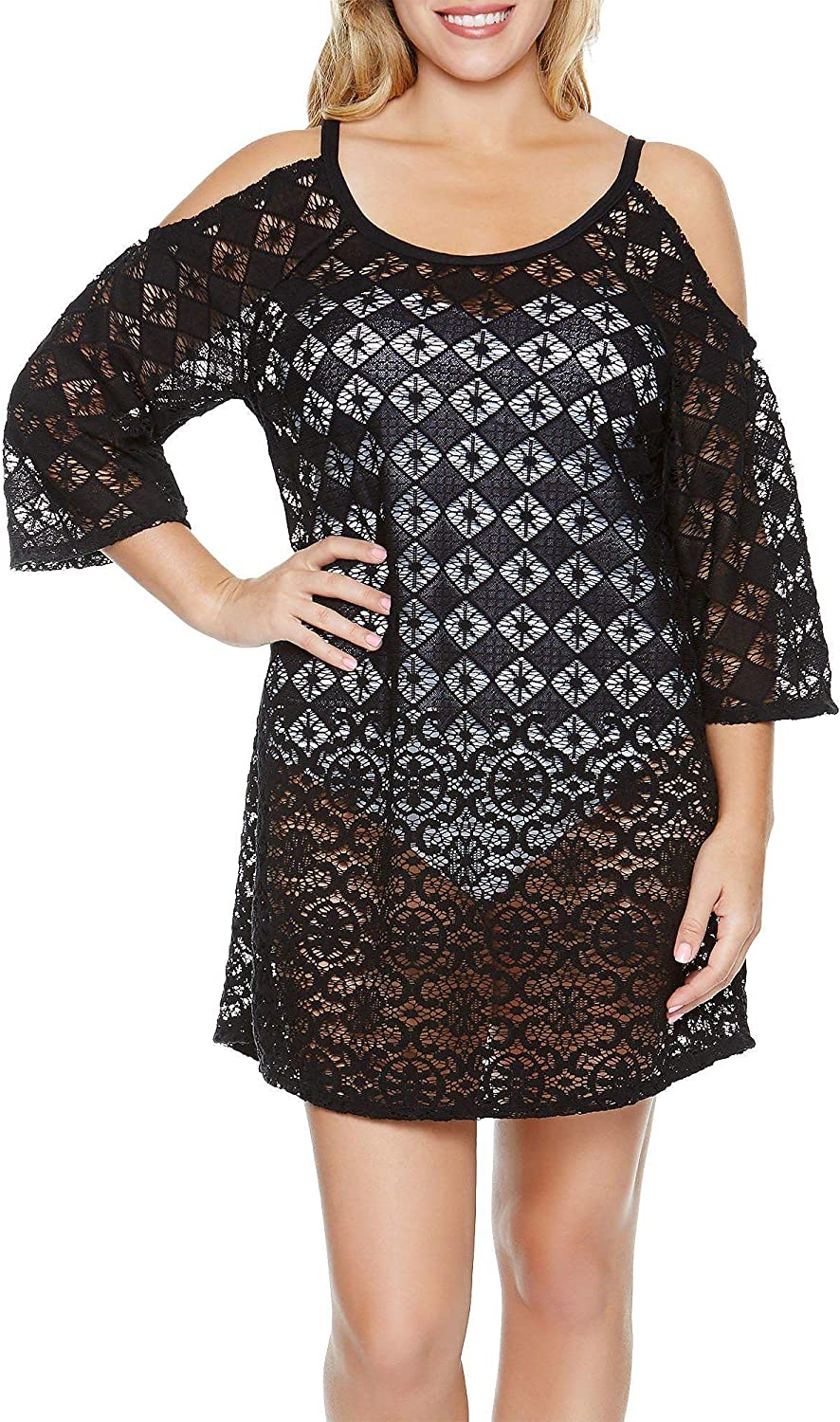 Dotti Lace Cold Shoulder Swimsuit Cover Up