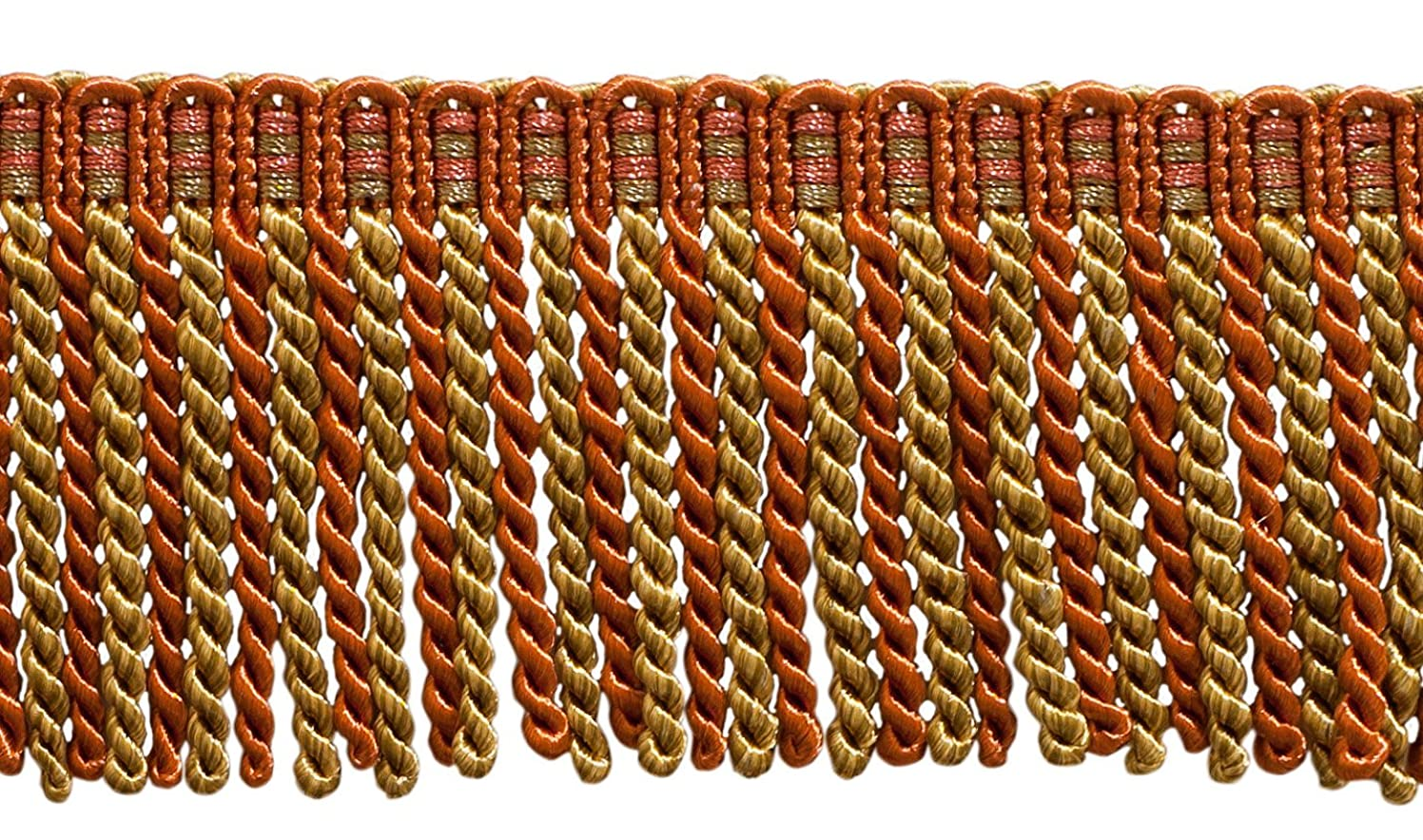 16 Feet Value Pack of 3 Inch Long Bullion Fringe Trim, Style# DB3 - Copper, Olive Green - Rust 07 (5.4 Yards / 5 Meters)