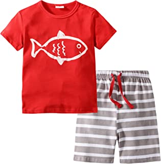 Toddler Boy Clothes Kids Summer Cotton Outfits Shirt Short Sets 2-7T