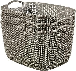 Curver by Keter 232062 Knit Rectangular Large Basket Set, Harvest Brown