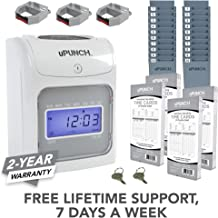 CALCULATING uPunch Time Clock Bundle with 200 Cards, 3 Ribbons, 2 Time Card Racks, & 2 Keys (HN4500)