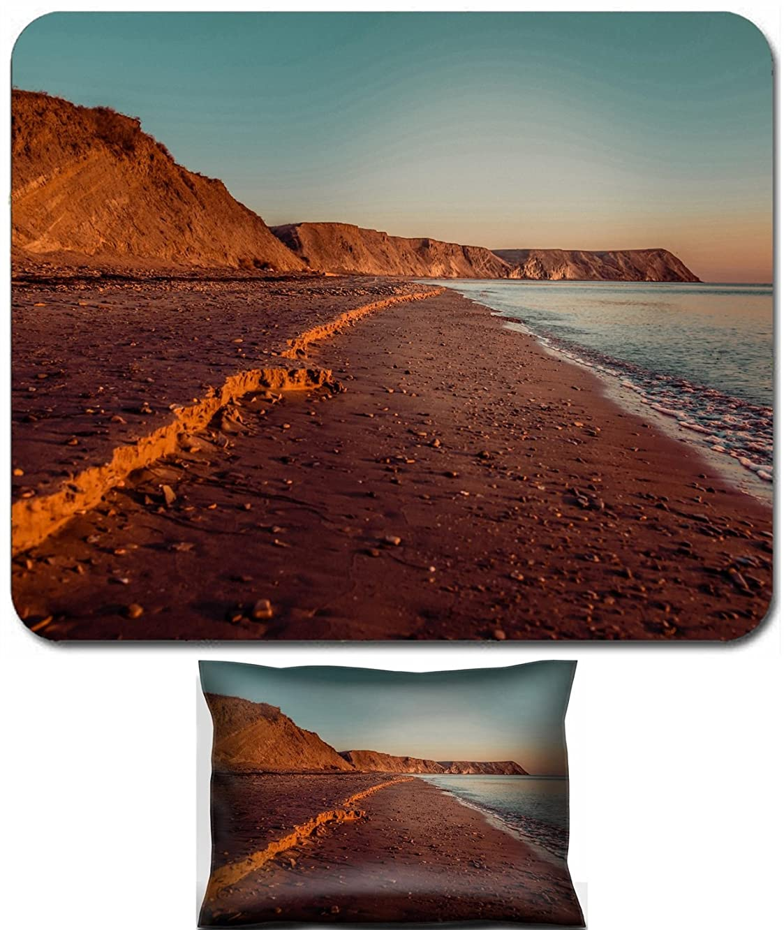 Luxlady Mouse Wrist Rest and Small Mousepad Set, 2pc Wrist Support design IMAGE: 34014935 Beach at sunset