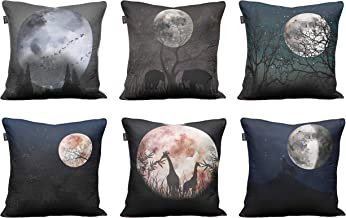 Timingila Shadow & Moon Galaxy Printed Living Room Sofa Cushion Cover 6 Piece Multicolor Poly Dupion Home Decor Pillow Cas...