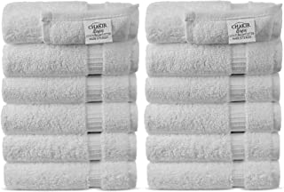 Chakir Turkish Linens Hotel & Spa Quality, Highly Absorbent 100% Turkish Cotton Washcloths (12 Pack, White)