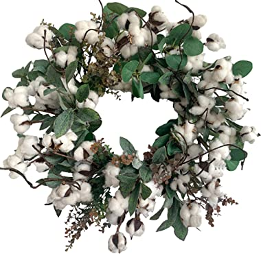Huashen Cotton Farmhouse Wreath with Eucalyptus Leaves, Summer&Early Fall Wreath on Grapevine Base for Front Door Wall Window 24 inch