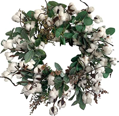 Huashen Cotton Farmhouse Wreath with Eucalyptus Leaves, Summer Fall Wreath on Grapevine Base for Front Door Wall Window 24 inch