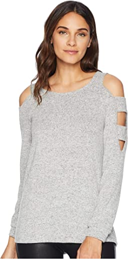 Cold Shoulder Long Sleeve Strapped Top w/ Banded Cuff