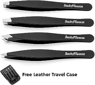 4 Tip Tweezer Set - SuchATweeze Premium Stainless Steel Precision Tweezers for Men & Women. Guaranteed Best Straight, Slant, Ingrown Pluckers for Shaping Eyebrows (Black)